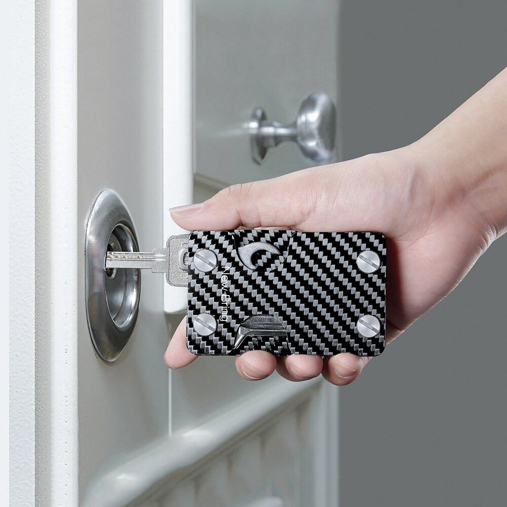 NewBring Carbon Fiber Credit Card Holder and Key Organizer With RFID Anti thief Multi functional Card
