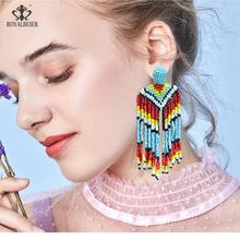 Ladies Fashion Bohemian Handmade Beads Long Tassel Pendant Earrings Ethnic Style Multicolor Wedding Jewelry
