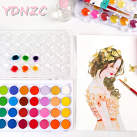 Профессиональные Улучшенный Портативный одноцветное акварельные краски в наборе Краски кисти яркое Цвет пигментная краска комплект, прин...