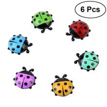 6 Pcs Plastic Decorative Mini Ladybug-Shaped Refrigerator Magnets Office Kitchen Refrigerator Magnets Wall Stickers(China)