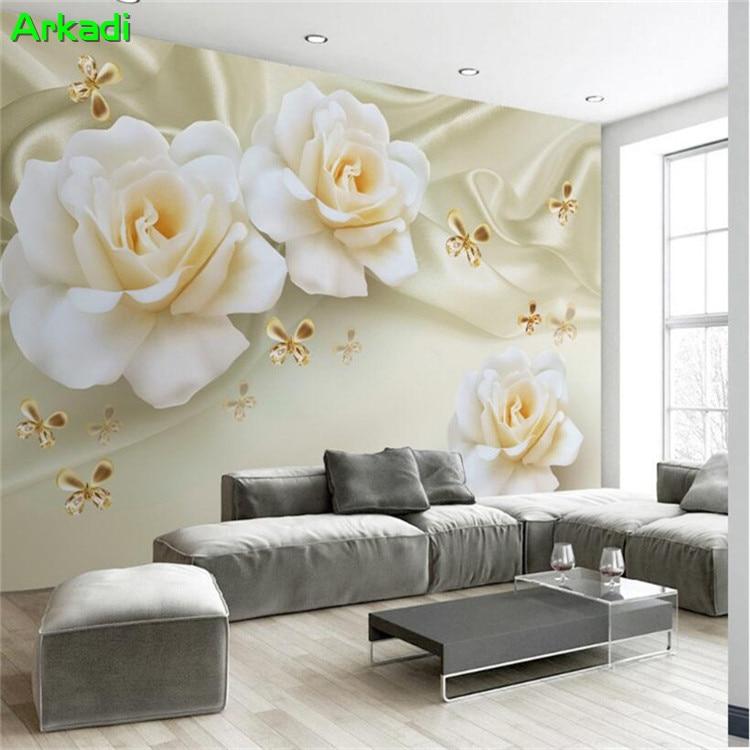 3d tv fond mur moderne minimaliste roses papillon soie papier peint papier peint salon europ en for Papier peint luxe