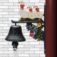 1PC Retro Vintage Style Rusted Three Ducks Cast Iron Door Bell Wall Mounted Garden Decor Ornament
