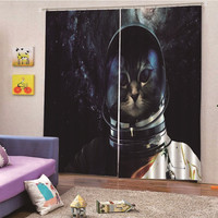 Cat head portrait Jacquard Design Home Decoration Modern Curtain Fabrics Organza Sheer Panel Window Treatment