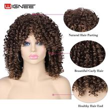 Wignee Short Curly Synthetic Wigs With Bangs For Women High Temperature Heat Resistant Hair African American Hairstyle Full Wig все цены