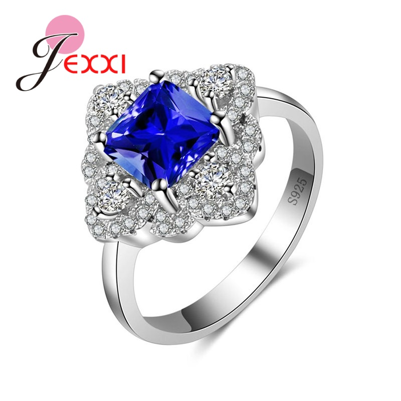 JEXXI Top quality Genuine Cubic Zirconia Ring 925 Sterling Silver Jewelry Rings For Women Noble Lady.