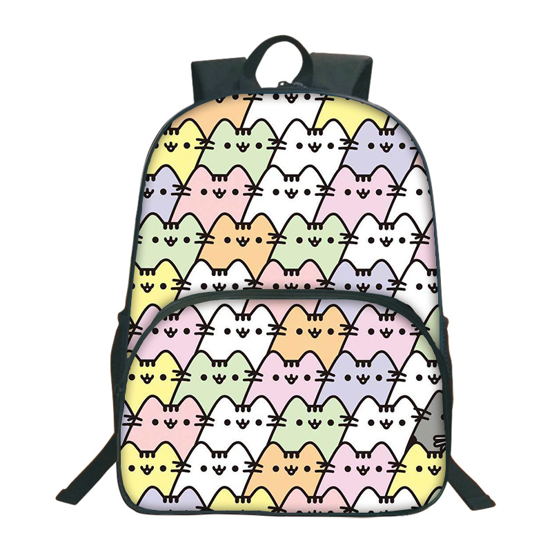 2018 Cute Pusheen Cat Printed Backpacks For Teenagers Girls Boys School Bags For Children Daily Backpacks Kids Rucksack Mochila patchwork school bags for girls or boys children backpacks cute carton shoulder fashion school backpacks birds pattern bb0109