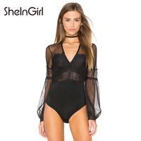 SheInGirl 2016 Vintage Women Bodysuits Sexy Black Tulle Sheer Hollow Out Patchwork Bodysuit Long Lantern Sleeve
