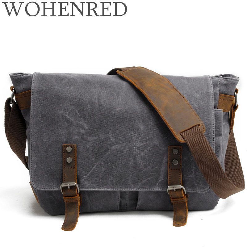 14 Inch Messenger Mens Vintage Canvas Leather Laptop Briefcase Waterproof Large Shoulder Bag School College Satchel