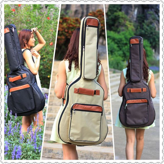 3 colors good quality 39 40 41 inch acoustic guitar gig bag case PU backpack shoulder padded protection waterproof free shipping