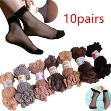 Sales promotion 10 Pair Women Elastic Ultra-thin Transparent Short Crystal Socks Newest Fashion(China)
