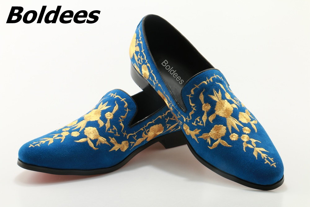 Boldees Men Casual Loafers 2017 Blue Suede Leather Fashion Men Loafers Embroidered Moccasins Slip On Men's Flats Male Boat Shoes