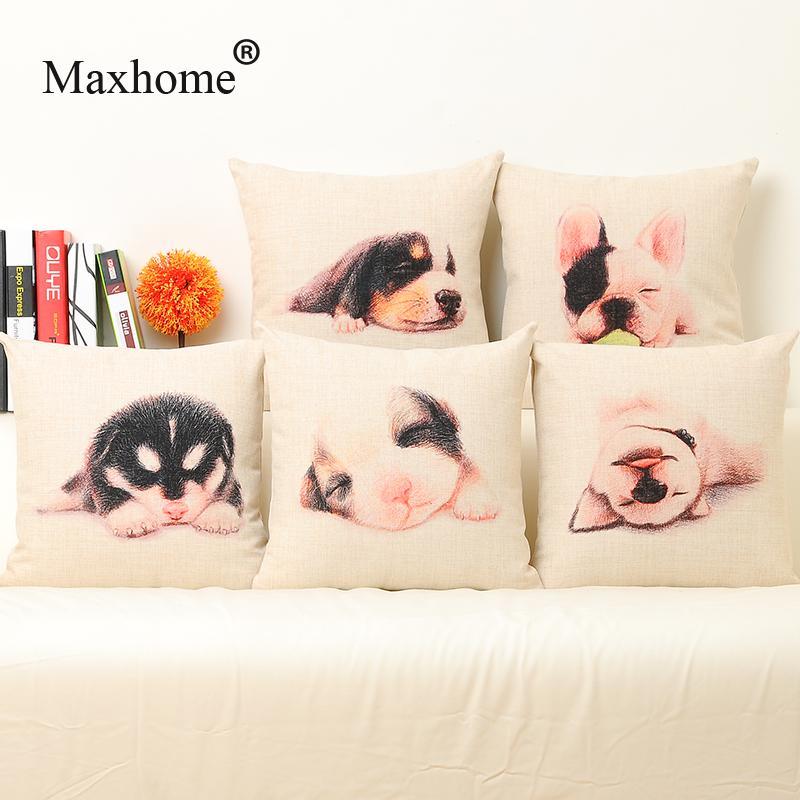 Wholesale Super Cute Dog Cotton Linen Pillowcase Luxury Sofa Cusions Decorative Pillow Home Decor Sofa Throw Pillows 45*45