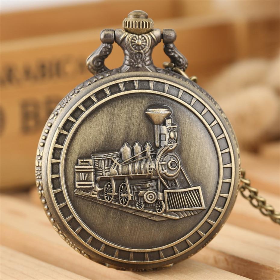 Steampunk Train Design Bronze Necklace Pocket Watch Vintage Souvenir Pendant Clock For Men Women Fob Chain New Arrival 2019