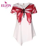 NEW Women White Blouses Shirts Short Sleeve Women Print Butterfly Blusas Irregular Hem Tunic Female Tops