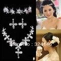 2016 Nuevo diseño cristalino de la joyería nupcial conjuntos de Hoja de La Manera rhinestone collar de Plata para La Novia de la boda accesorios para el cabello