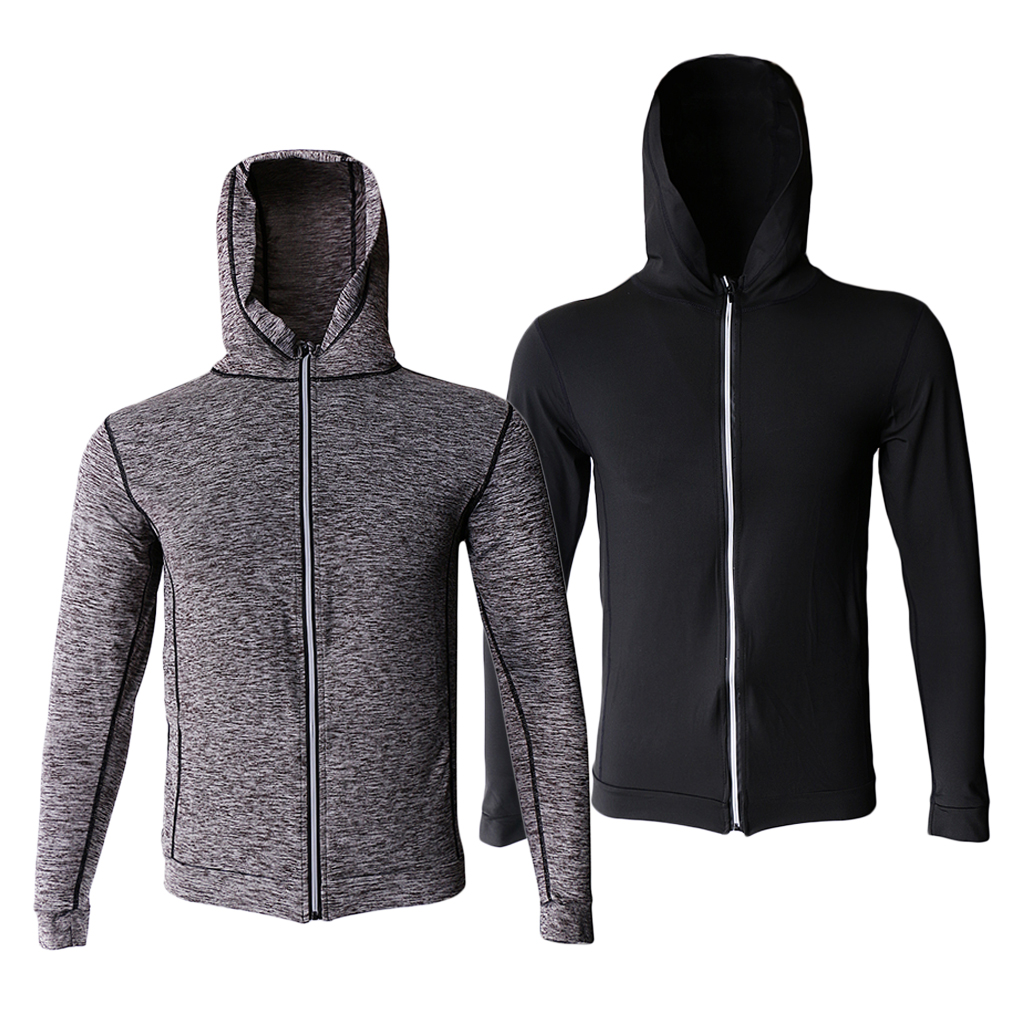 2019 New Mens Sports Polyester Knitted Hooded Jackets Autumn Gym Running Yoga Hoodies Jogging Overcoat