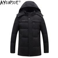 AYUNSUE 90% куртка на утином пуху Мужская шерстяная парка с меховым воротником зимняя куртка плюс размер куртки парки Winterjas Heren YT6107140 MY1394