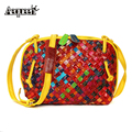 100% Genuine Leather  Shell Messenger  Women Shoulder Bag Weave Lady Girls Gifts Mixed Color Fashion Style Small Crossbody
