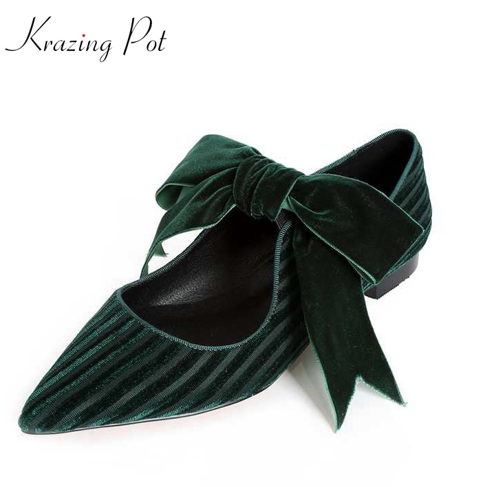 Krazing high street fashion velvet superstar bowtie preppy style pointed toe flats fairy beauty sweet women young lady shoes L36