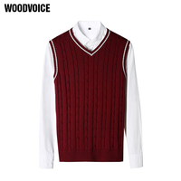 New Fashion Brand Clothing 100 Cotton Solid V Neck Casual Male Sweater Pullover Knitted Slim Vest
