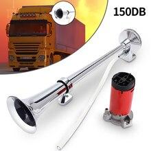 150dB 12V Single Trumpet Car Air Horn Chrome Super Loud with Compressor