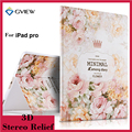 For iPad Pro 12.9 Tablet Case 3D Relief Painting Flower Print Ultra-Slim Leather Cover Protective Stand cases for iPad Pro 12.9