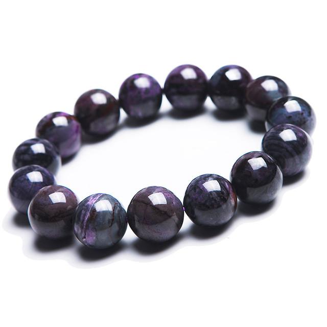 14.5mm Do Sul Genuína Africano Natural Roxo Sugilite Pedra Semi-preciosa Rodada Beads Estiramento Charme Pulseira de Cura Poderosa