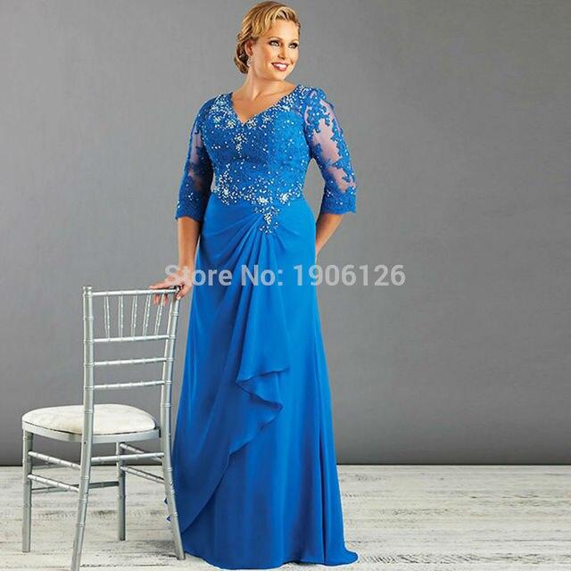 Blue Mother Of The Bride Lace Dresses Plus Size Evening Gowns Groom Vestidos De Festa