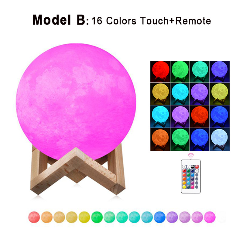 Dropship 3D Print Moon Lamp 20cm 18cm 15cm Colorful Change Touch USB Led Night Light Home Decor Creative Gift 3