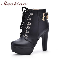 Meotina Shoes Women High Heel Ankle Boots Platform Women Boots Winter Fur Short Boots Buckle Lace Up Lady Shoes Big Size 44 45