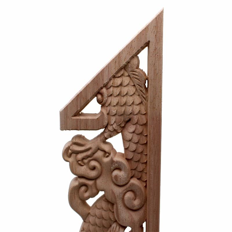 RUNBAZEF Dragon chinois bouddha décoration sculpté bois sculpté coin Applique porte armoire meubles Figurines bois Appliques - 3