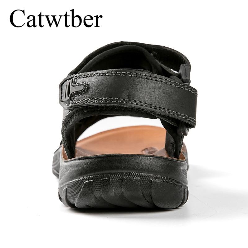 Catwtber Hommes De Haute Mode Causalité Marche Air Qualité Appartements Sandales D'été black Super Caoutchouc Brown Fiber Plat Plage Plein Semelle En Chaussures fqwItfPrn