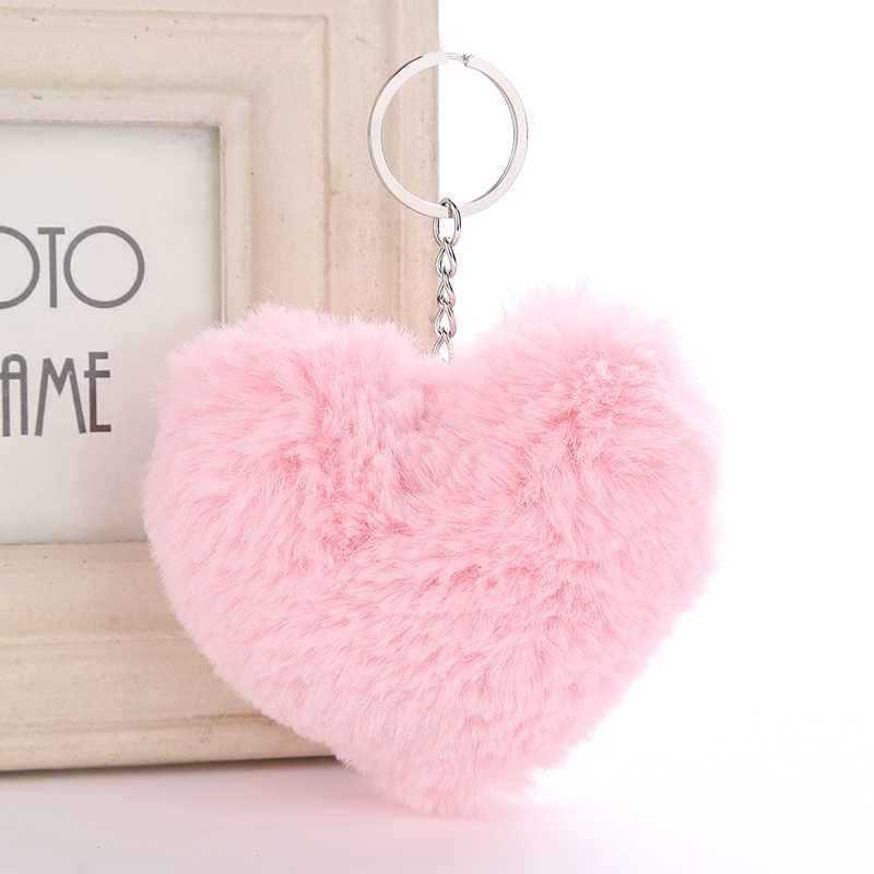 9 cm Doce da Forma Do Coração Chaveiro faux Rabbit Fur Pom Poms Bola Anel Chave Chaveiro Bolsa Acessórios de Decoração Do Carro