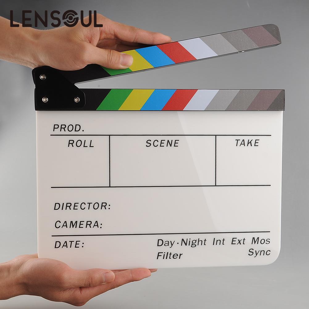 lensoul New Colorful Clapperboard Acrylic Movie Action Slate Clapper - Cámara y foto