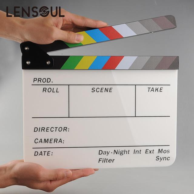 lensoul New Colorful Clapperboard Acrylic Movie Action Slate Clap Clapper Board Handmade