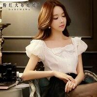 White Shirt Female Pink Doll 2016 Summer New Korean Temperament Slim Bow Chiffon Shirt