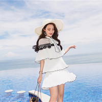 Women dress Ruffles Short Sleeve Patchwork Slim Lace 18 White Pleated Socialite Cloak On Vacation Dresses 6859