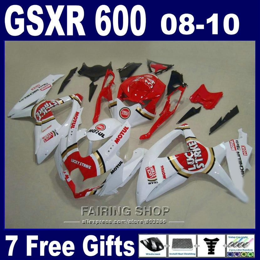 Бесплатно настроить обтекатель комплект для инъекций Сузуки gsxr 600 750 08 09 10 белый красный обтекатели gsxr750 2008 2009 2010 nm148