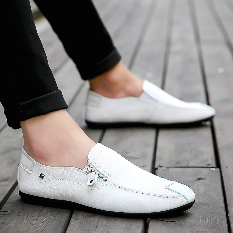 Fashion Loafers Men Casual Leather Shoes Breathable Sneakers Men Shoes White Moccasins Slip On Boat Shoes Zapatos De Hombre