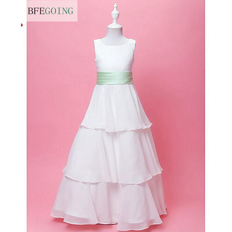 A-line Floor-length   Flower     Girl     Dress   - Chiffon/Satin Sleeveless Real/Original Photos