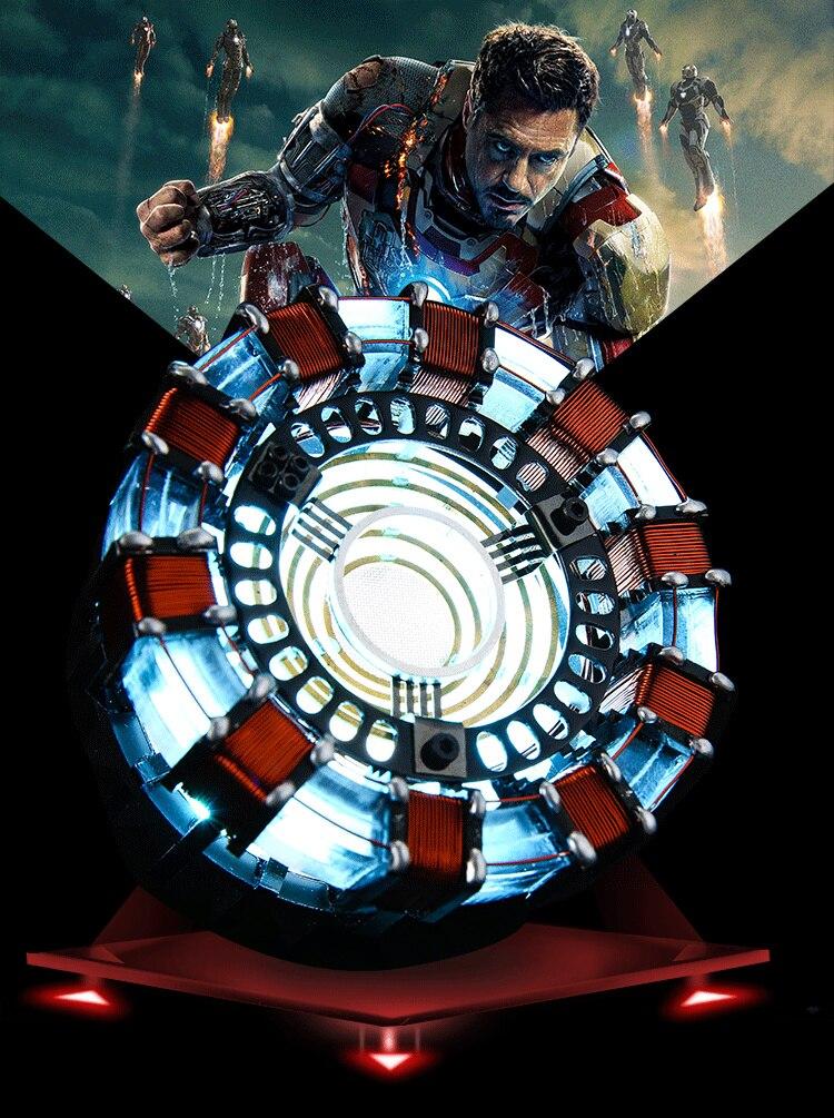 [Готовая сборка] 1:1 масштаб Железный человек дуга реактор поколение светящийся Железный человек Сердце Модель со светодио дный подсветкой ф...