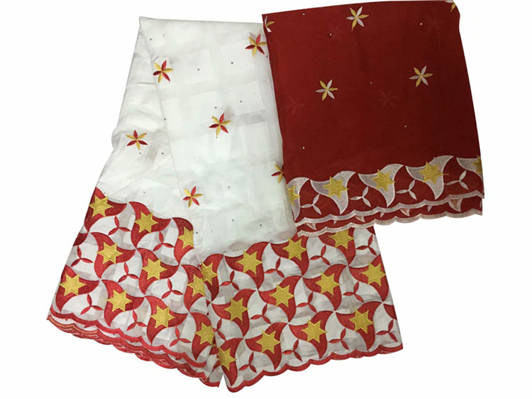 Popular apparel African cotton lace fabric with 2y Swiss voile scarf fabric for dress set IKCV9(5+2y) many colorPopular apparel African cotton lace fabric with 2y Swiss voile scarf fabric for dress set IKCV9(5+2y) many color