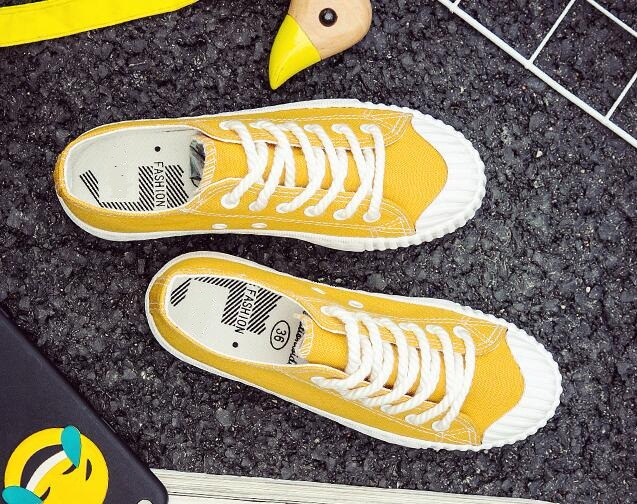 Femme Toile Élégant Loisirs C025 Confort De Nouvelle black Lady Plates On Mode Chaussures yellow red Confortable White Casual Slip Automne 2017 Yvq7OO
