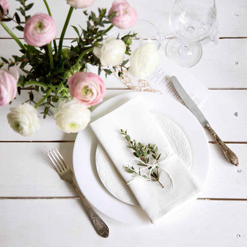 12 PCS/LOT White Cotton Napkins Fine White Poly Cotton Table Dinner Napkins 42*42CM And 28x28cm For Party Wedding