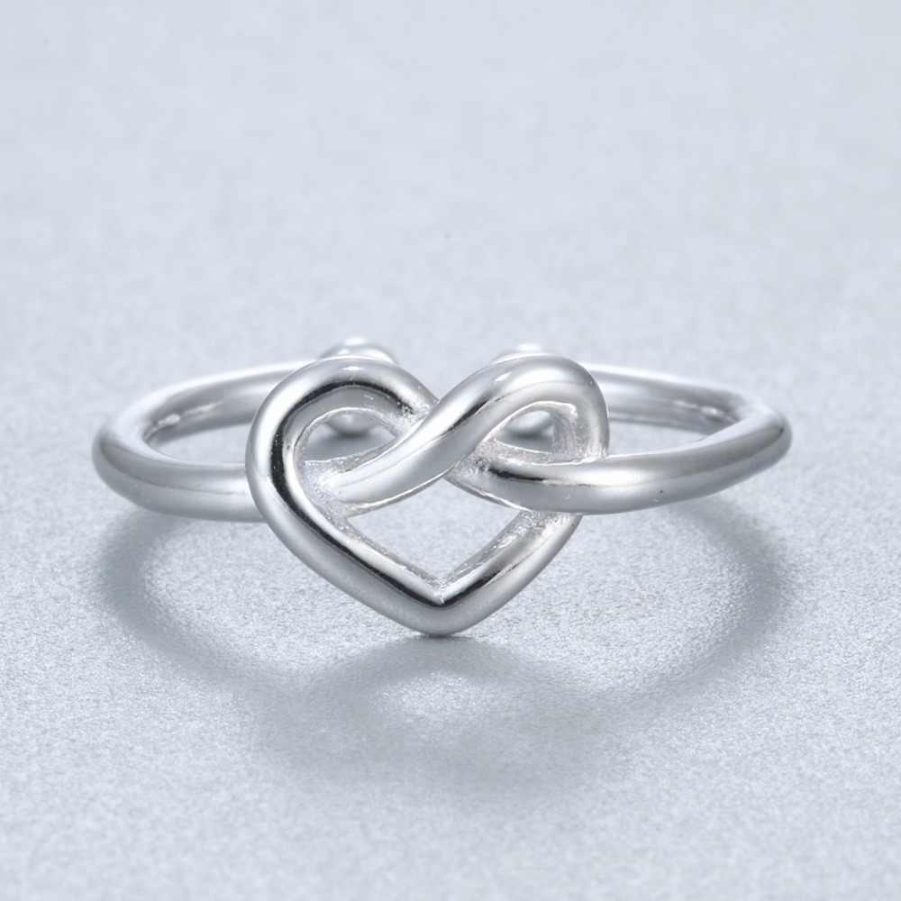 Kinitial 925เงินหัวใจแหวนปมผู้หญิงนิ้วขาเครื่องประดับอินฟินิตี้ปรับเรียบง่ายรักเล็กๆข้ามแหวนของขวัญ