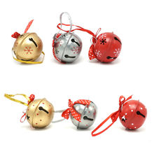 Red gold silvery metal jingle bell with dot ribbon for home
