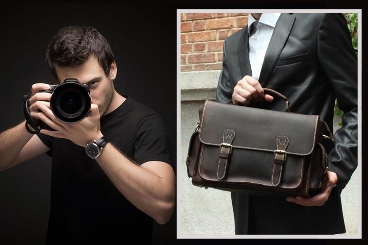 Bagaj ve Çantalar'ten Seyahat Çantaları'de Erkekler için çılgın at hakiki deri kamera çantası Nikon Canon için çok cep büyük kapasiteli kamera kılıf Kahverengi inek derisi seyahat çantası'da  Grup 2