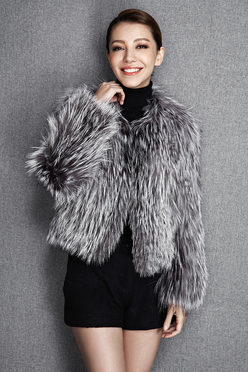 2015 New Arrival 100% Natural Silver Fox Fur Knitted Coat, Women's Real Fox Fur Outerwear SU-1521 EMS Free Shipping 8