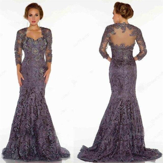 67e891138022 2017 Purple Lace Mother of the Bride Dresse with Jacket Vestidos madre de la  novia Plus Size Wedding Guest Outfit Groom Mother