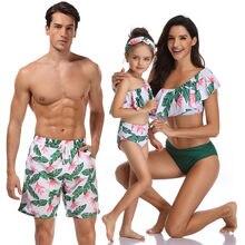 Traje de baño a juego para familia, bikini Irregular, ropa de playa verde, vacaciones, verano
